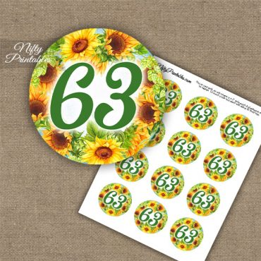63rd Birthday Cupcake Toppers - Sunflowers