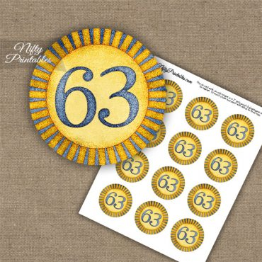 63rd Birthday Cupcake Toppers - Sunshine Illustrated