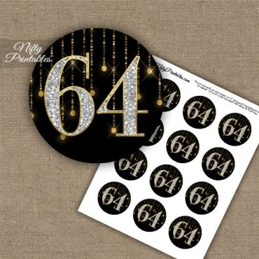 64th Birthday Cupcake Toppers - Diamonds Black Gold