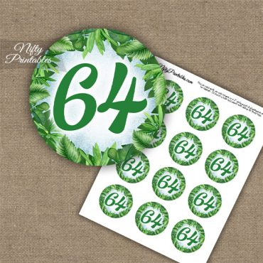 64th Birthday Cupcake Toppers - Greenery
