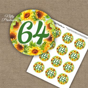 64th Birthday Cupcake Toppers - Sunflowers
