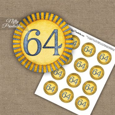 64th Birthday Cupcake Toppers - Sunshine Illustrated