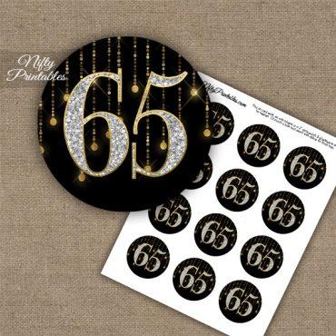 65th Birthday Cupcake Toppers - Diamonds Black Gold