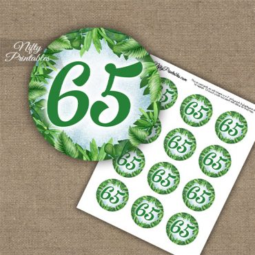 65th Birthday Cupcake Toppers - Greenery