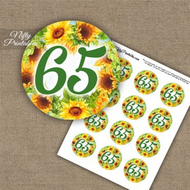65th Birthday Cupcake Toppers - Sunflowers