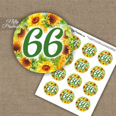 66th Birthday Cupcake Toppers - Sunflowers