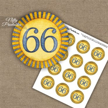 66th Birthday Cupcake Toppers - Sunshine Illustrated