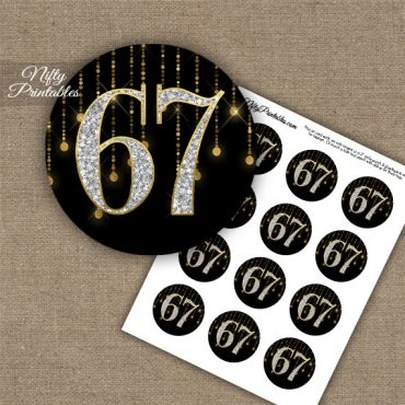 67th Birthday Cupcake Toppers - Diamonds Black Gold