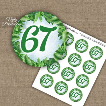 67th Birthday Cupcake Toppers - Greenery
