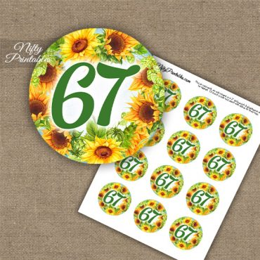 67th Birthday Cupcake Toppers - Sunflowers