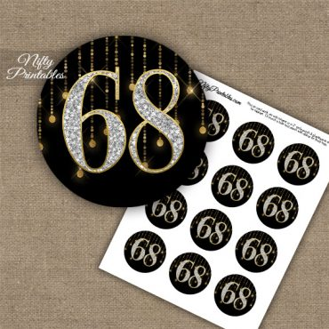 68th Birthday Cupcake Toppers - Diamonds Black Gold
