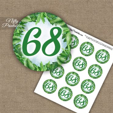 68th Birthday Cupcake Toppers - Greenery