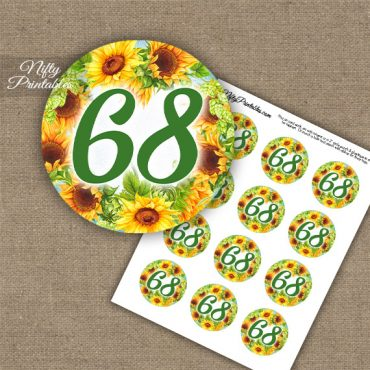 68th Birthday Cupcake Toppers - Sunflowers