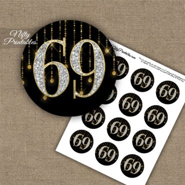 69th Birthday Cupcake Toppers - Diamonds Black Gold