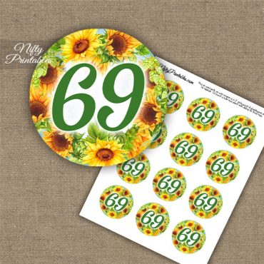 69th Birthday Cupcake Toppers - Sunflowers
