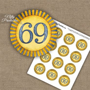 69th Birthday Cupcake Toppers - Sunshine Illustrated