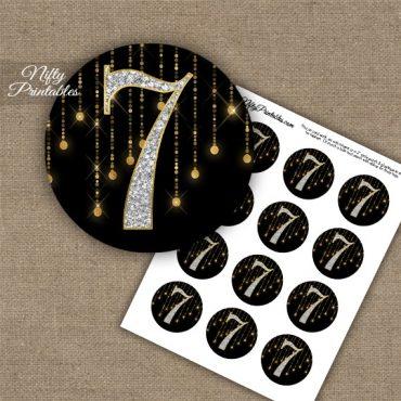7th Birthday Anniversary Cupcake Toppers - Diamonds Black Gold