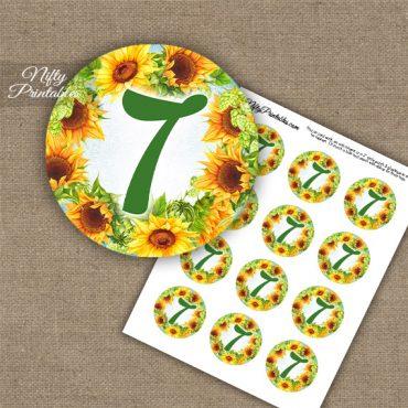 7th Birthday Anniversary Cupcake Toppers - Sunflowers