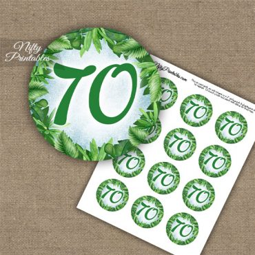 70th Birthday Cupcake Toppers - Greenery