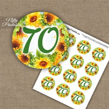 70th Birthday Cupcake Toppers - Sunflowers