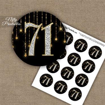 71st Birthday Cupcake Toppers - Diamonds Black Gold