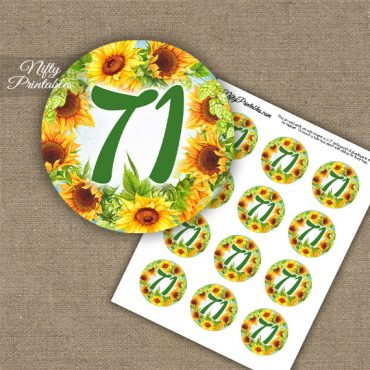 71st Birthday Cupcake Toppers - Sunflowers