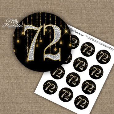 72nd Birthday Cupcake Toppers - Diamonds Black Gold