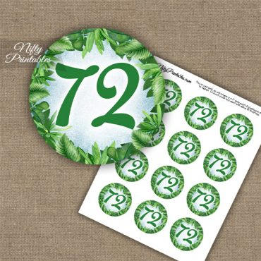72nd Birthday Cupcake Toppers - Greenery