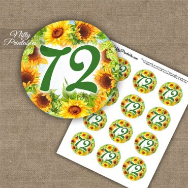 72nd Birthday Cupcake Toppers - Sunflowers