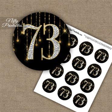 73rd Birthday Cupcake Toppers - Diamonds Black Gold