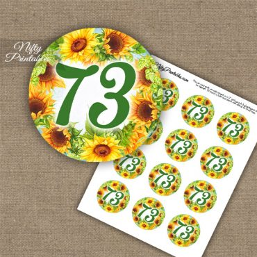 73rd Birthday Cupcake Toppers - Sunflowers