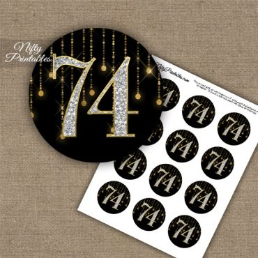 74th Birthday Cupcake Toppers - Diamonds Black Gold