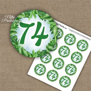 74th Birthday Cupcake Toppers - Greenery