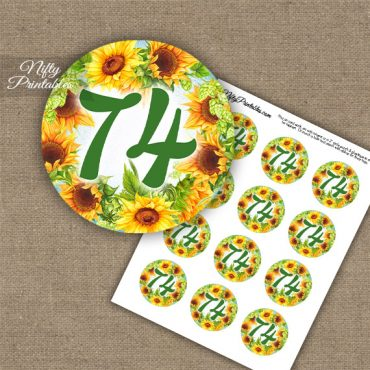 74th Birthday Cupcake Toppers - Sunflowers