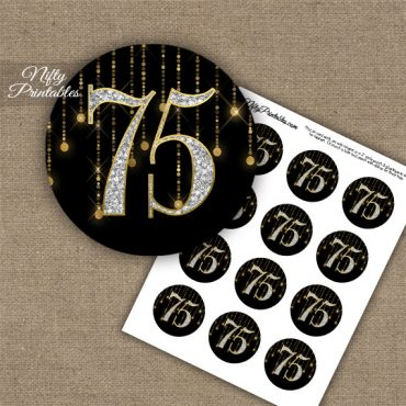 75th Birthday Cupcake Toppers - Diamonds Black Gold