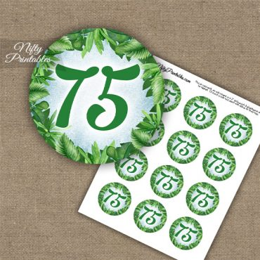75th Birthday Cupcake Toppers - Greenery
