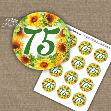 75th Birthday Cupcake Toppers - Sunflowers