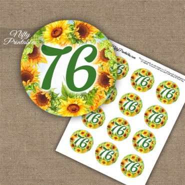 76th Birthday Cupcake Toppers - Sunflowers
