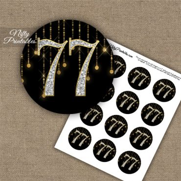 77th Birthday Cupcake Toppers - Diamonds Black Gold