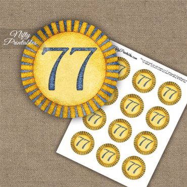 77th Birthday Cupcake Toppers - Sunshine Illustrated