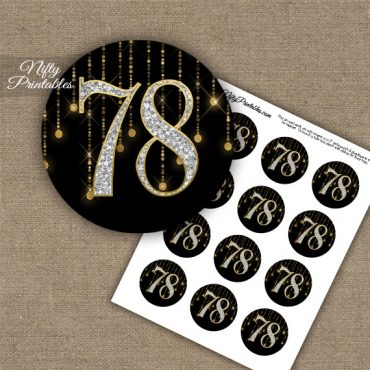 78th Birthday Cupcake Toppers - Diamonds Black Gold
