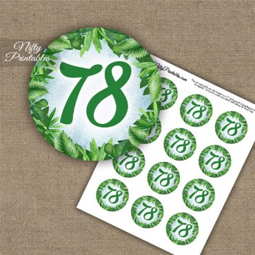 78th Birthday Cupcake Toppers - Greenery