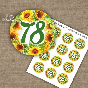 78th Birthday Cupcake Toppers - Sunflowers
