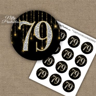 79th Birthday Cupcake Toppers - Diamonds Black Gold