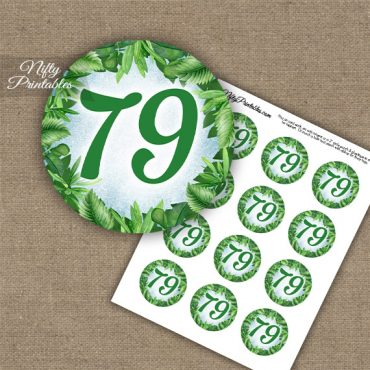 79th Birthday Cupcake Toppers - Greenery