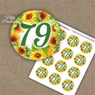 79th Birthday Cupcake Toppers - Sunflowers