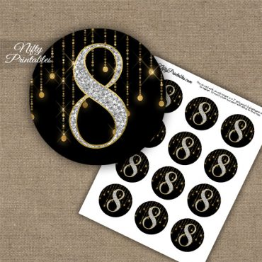 8th Birthday Anniversary Cupcake Toppers - Diamonds Black Gold
