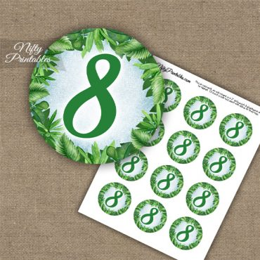 8th Birthday Anniversary Cupcake Toppers - Greenery