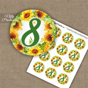 8th Birthday Anniversary Cupcake Toppers - Sunflowers