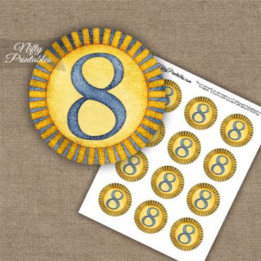 8th Birthday Anniversary Cupcake Toppers - Sunshine Illustrated
